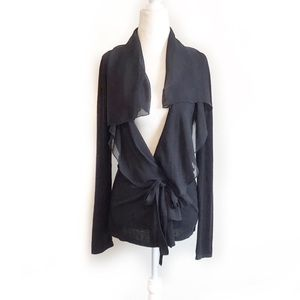 Tahari-Lightweight Ruffled Front Belted Cardigan